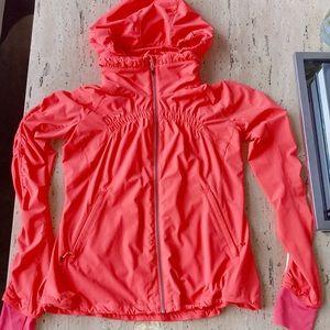 EUC Lululemon Neon Coral Run Zip Hoodie Jacket